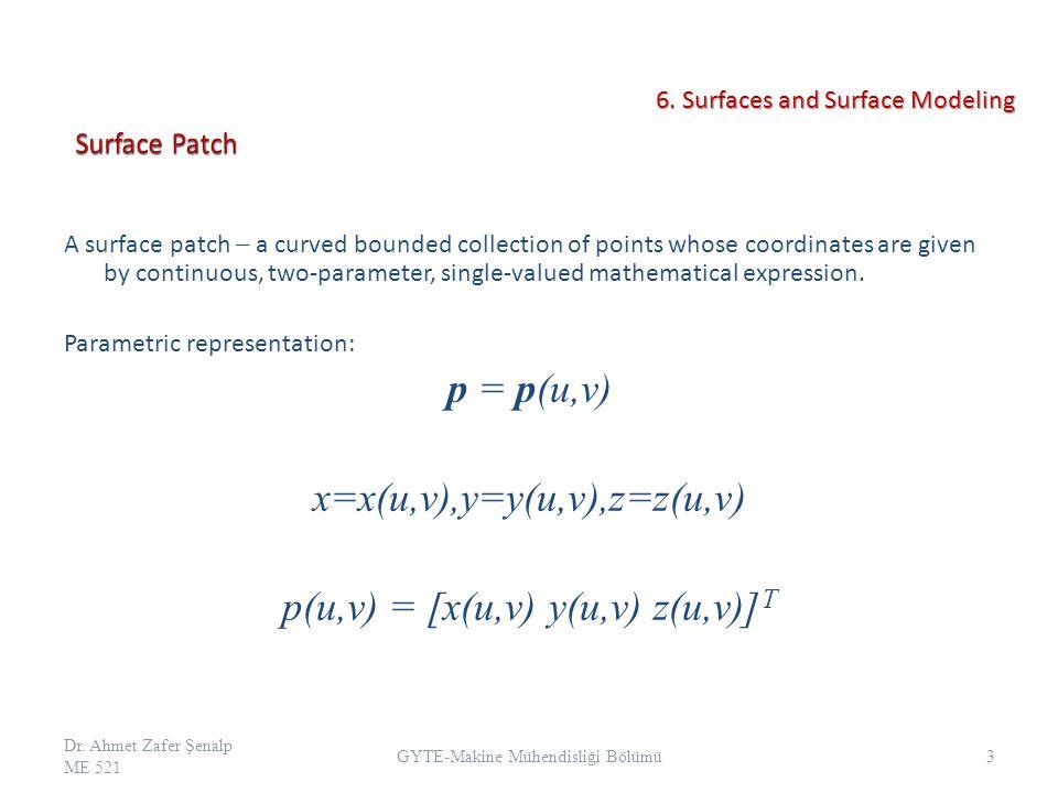 x=x(u,v),y=y(u,v),z=z(u,v) p(u,v) = [x(u,v) y(u,v) z(u,v)]T